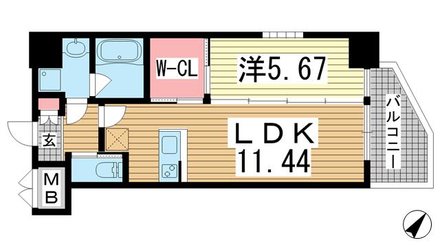物件番号: 1025873340 プレジオ神戸WEST  神戸市兵庫区三川口町1丁目 1LDK マンション 間取り図