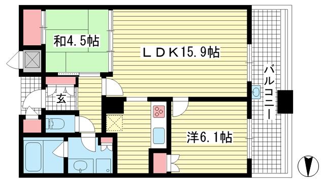 物件番号: 1025873452 D'グラフォート神戸三宮タワー  神戸市中央区八幡通4丁目 2LDK マンション 間取り図