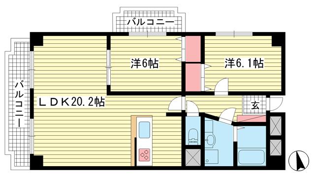 物件番号: 1025873490 グランドビスタ北野  神戸市中央区加納町2丁目 2LDK マンション 間取り図