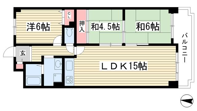 物件番号: 1025873502 Belltree若草  神戸市須磨区若草町1丁目 3LDK マンション 間取り図
