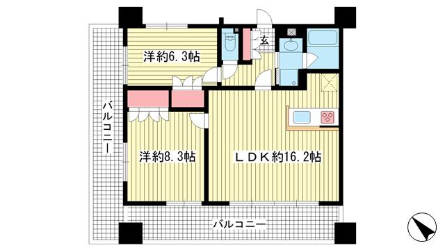 物件番号: 1025873516 リーガル新神戸パークサイド  神戸市中央区生田町2丁目 2LDK マンション 間取り図