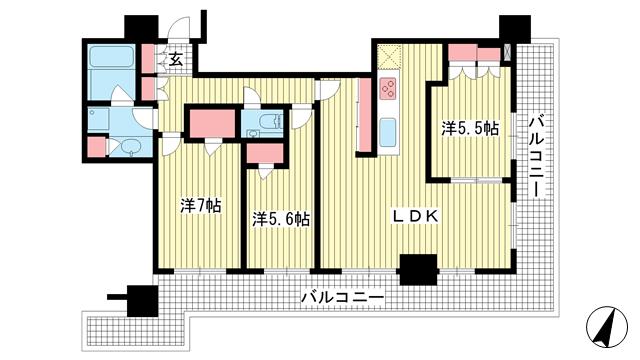 物件番号: 1025873517 シティタワー神戸三宮  神戸市中央区旭通4丁目 3LDK マンション 間取り図