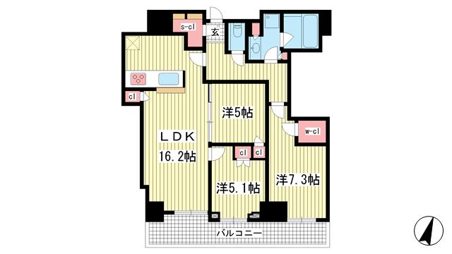 物件番号: 1025873529 シティタワー神戸三宮  神戸市中央区旭通4丁目 3LDK マンション 間取り図