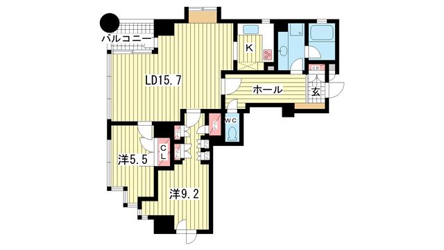 物件番号: 1025873547 MARINA北野  神戸市中央区加納町2丁目 2LDK マンション 間取り図