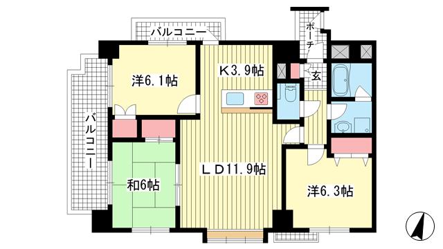 物件番号: 1025873794 サンシャイン中山手  神戸市中央区中山手通3丁目 3LDK マンション 間取り図