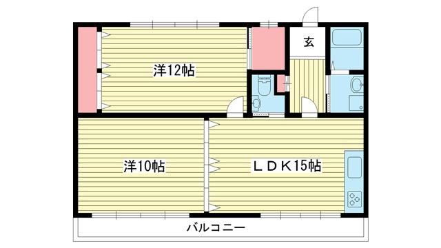 物件番号: 1025873800 ニューコーワビル  神戸市兵庫区上沢通7丁目 2LDK マンション 間取り図