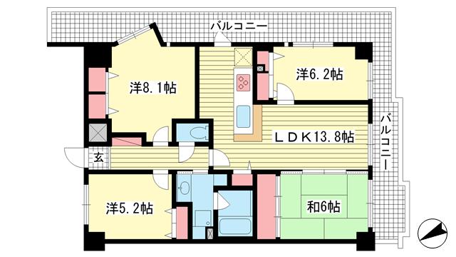 物件番号: 1025873932 ライオンズプラザ神戸  神戸市兵庫区新開地2丁目 3LDK マンション 間取り図