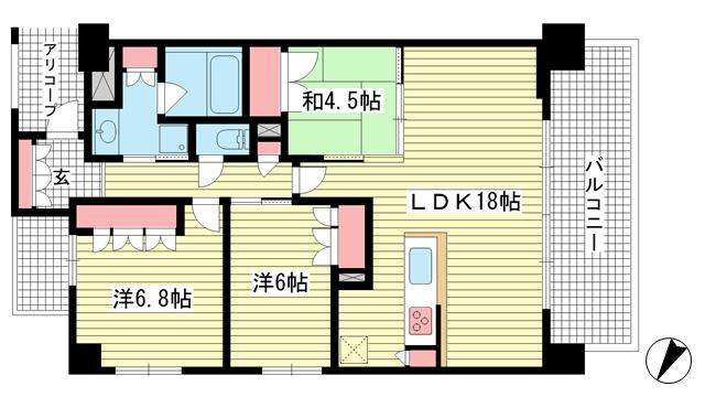 物件番号: 1025873978 ザ・レジデンス元町海岸通  神戸市中央区海岸通3丁目 3LDK マンション 間取り図