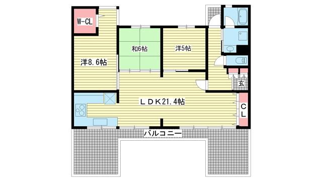 物件番号: 1025874021 神戸ヒルズⅣ  神戸市北区中里町2丁目 3LDK マンション 間取り図