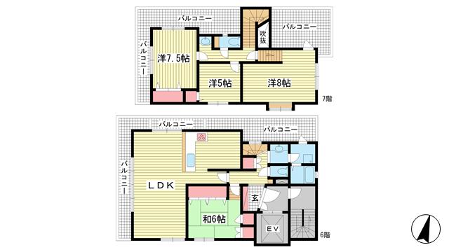 物件番号: 1025874043 クロワートル二宮  神戸市中央区二宮町4丁目 4LDK マンション 間取り図
