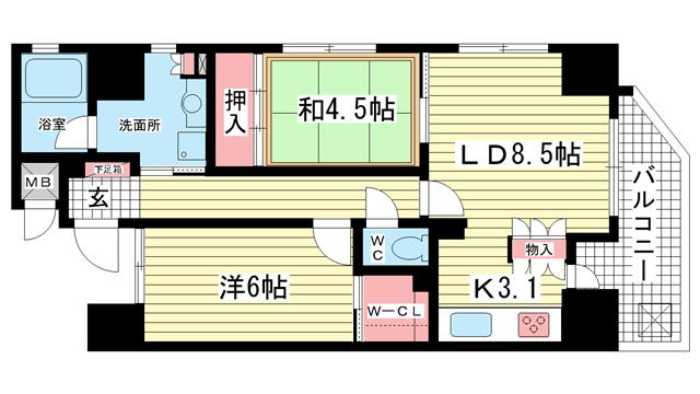 物件番号: 1025874086 アーバネックス元町通  神戸市中央区元町通6丁目 2LDK マンション 間取り図