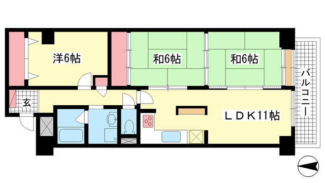 物件番号: 1025874105 シャンボール三宮  神戸市中央区熊内町4丁目 3LDK マンション 間取り図