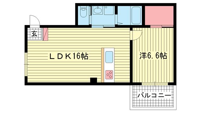 物件番号: 1025874121 セカンドパレス  神戸市中央区二宮町4丁目 1LDK マンション 間取り図