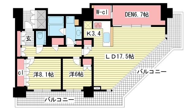 物件番号: 1025874122 アーバンライフ神戸三宮ザ・タワー  神戸市中央区加納町6丁目 2SLDK マンション 間取り図