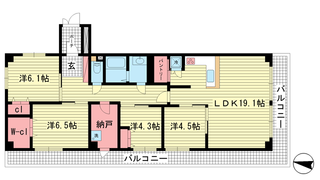 物件番号: 1025874124 コボリマンション北野  神戸市中央区北野町4丁目 4LDK マンション 間取り図