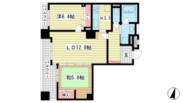 物件番号: 1025874126 アパタワーズ神戸三宮  神戸市中央区磯辺通4丁目 2LDK マンション 間取り図