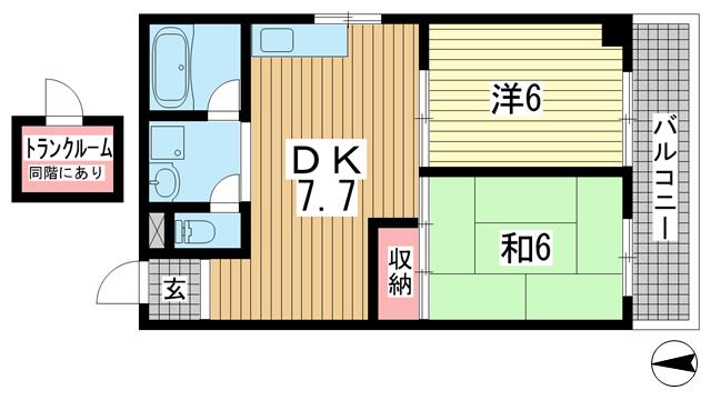 物件番号: 1025874210 タウンハウス熊内  神戸市中央区熊内町4丁目 2LDK マンション 間取り図