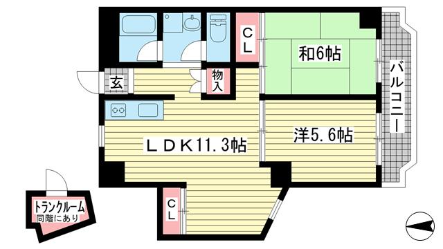 物件番号: 1025874211 タウンハウス熊内  神戸市中央区熊内町4丁目 2LDK マンション 間取り図