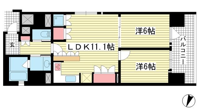 物件番号: 1025874216 リーガル神戸三宮フラワーロード  神戸市中央区八幡通4丁目 2LDK マンション 間取り図