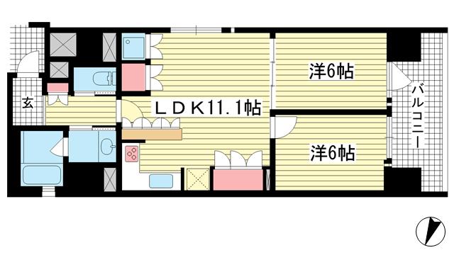 物件番号: 1025874221 リーガル神戸三宮フラワーロード  神戸市中央区八幡通4丁目 2LDK マンション 間取り図