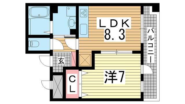 物件番号: 1025874288 ルミエール オクティア  神戸市中央区元町通3丁目 1LDK マンション 間取り図