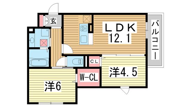 物件番号: 1025874298 灘北通8丁目D-room  神戸市灘区灘北通8丁目 2LDK マンション 間取り図