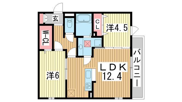物件番号: 1025874302 灘北通8丁目D-room  神戸市灘区灘北通8丁目 2LDK マンション 間取り図