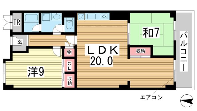 物件番号: 1025874310 諏訪山スカイハイツ  神戸市中央区山本通4丁目 2LDK マンション 間取り図
