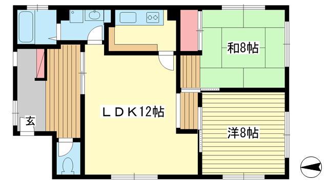 物件番号: 1025874335 日笠ビル  神戸市中央区山本通2丁目 2LDK マンション 間取り図