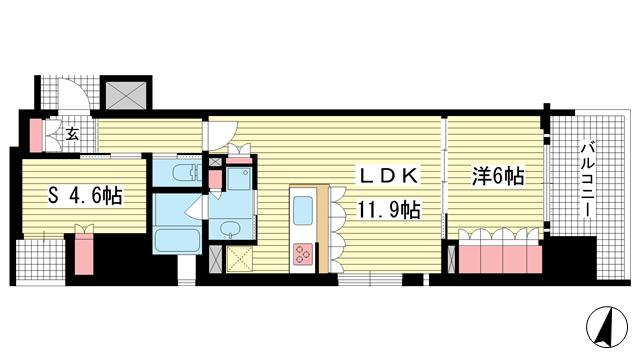 物件番号: 1025874343 リーガル神戸三宮フラワーロード  神戸市中央区八幡通4丁目 1SLDK マンション 間取り図