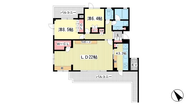 物件番号: 1025874387 御影ソルステージュ  神戸市東灘区住吉山手3丁目 2LDK マンション 間取り図