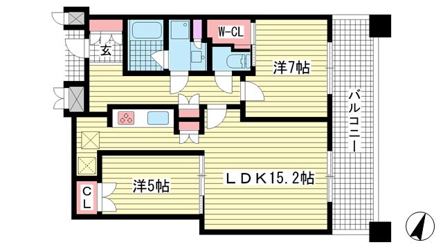 物件番号: 1025874400 トア山手 ザ・神戸タワー  神戸市中央区中山手通3丁目 2LDK マンション 間取り図