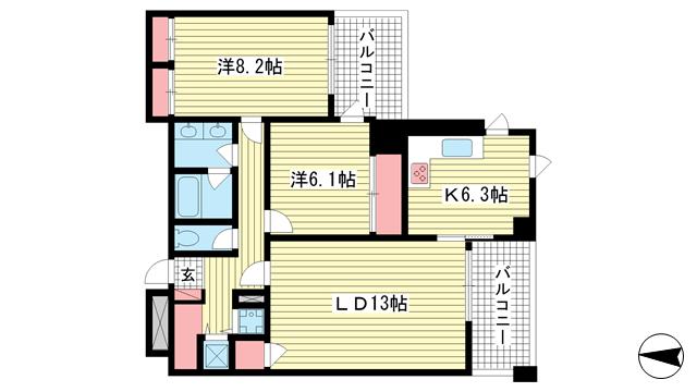 物件番号: 1025874428 新神戸アパートメント  神戸市中央区熊内町4丁目 2LDK マンション 間取り図