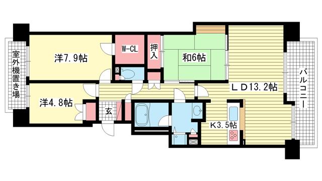 物件番号: 1025874430 パーク・ハイム神戸熊内町  神戸市中央区熊内町5丁目 3LDK マンション 間取り図