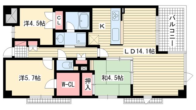 物件番号: 1025874438 ディアエスタ・ミオ中山手  神戸市中央区中山手通7丁目 3LDK マンション 間取り図