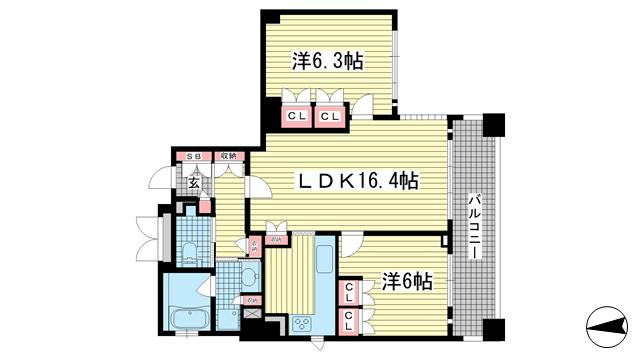 物件番号: 1025874441 リーガル神戸中山手通り  神戸市中央区中山手通2丁目 1SLDK マンション 間取り図