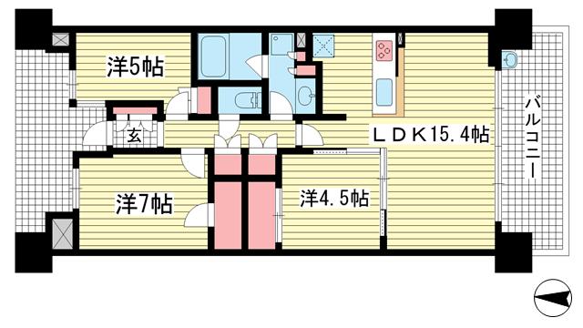 物件番号: 1025874498 クレヴィアタワー神戸ハーバーランド  神戸市中央区東川崎町1丁目 3SLDK マンション 間取り図