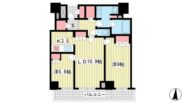 物件番号: 1025874502 ザ・パークハウス神戸ハーバーランドタワー  神戸市中央区東川崎町1丁目 2LDK マンション 間取り図