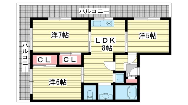 物件番号: 1025874515 シャトレイユ  神戸市垂水区泉が丘3丁目 3LDK マンション 間取り図