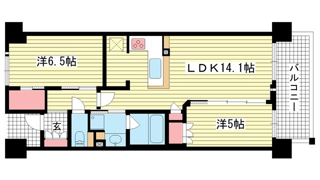 物件番号: 1025874537 ワコーレ神戸三宮トラッドタワー  神戸市中央区磯上通4丁目 2LDK マンション 間取り図