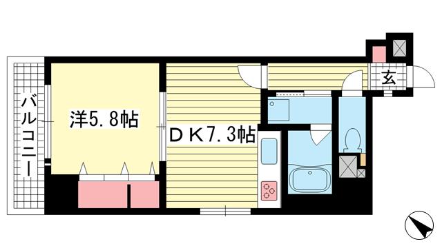 物件番号: 1025874542 ライオンズマンション神戸元町第5  神戸市中央区元町通5丁目 1DK マンション 間取り図