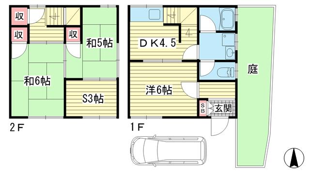 物件番号: 1025874604 上田テラス  神戸市北区鈴蘭台東町3丁目 3SDK テラスハウス 間取り図