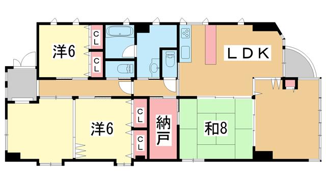 物件番号: 1025874619 アジュール山本通  神戸市中央区山本通5丁目 4SLDK マンション 間取り図