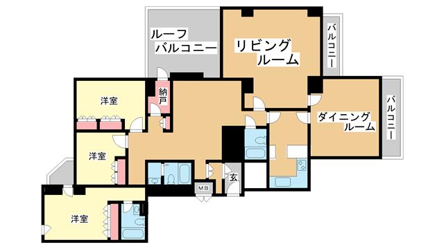 物件番号: 1025874640 I・S・S HEIGHTS  神戸市中央区熊内町5丁目 3LDK マンション 間取り図