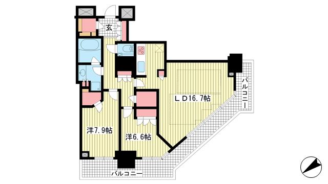 物件番号: 1025874642 アーバンライフ神戸三宮ザ・タワー  神戸市中央区加納町6丁目 2LDK マンション 間取り図