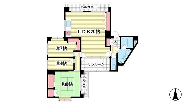 物件番号: 1025874650 NOBSUN異人館通  神戸市中央区山本通2丁目 3LDK マンション 間取り図