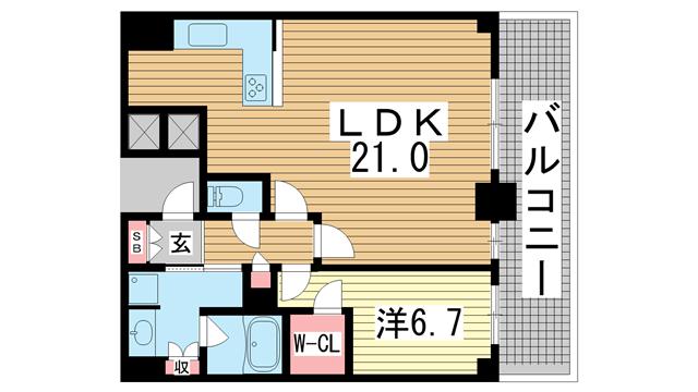 物件番号: 1025874661 神戸ハーバータワー  神戸市中央区海岸通6丁目 1LDK マンション 間取り図