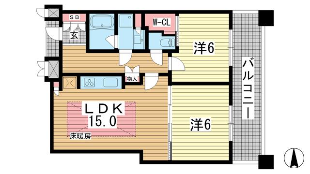 物件番号: 1025874727 トア山手 ザ・神戸タワー  神戸市中央区中山手通3丁目 2LDK マンション 間取り図
