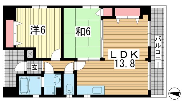物件番号: 1025874742 ル・ムーブル井村  神戸市中央区二宮町1丁目 2LDK マンション 間取り図