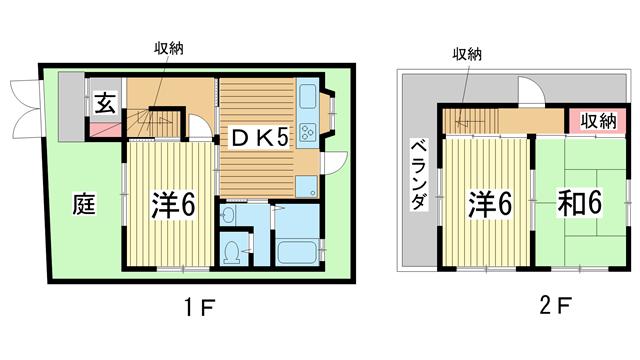 物件番号: 1025874745 五宮町貸家  神戸市兵庫区五宮町 3DK 貸家 間取り図